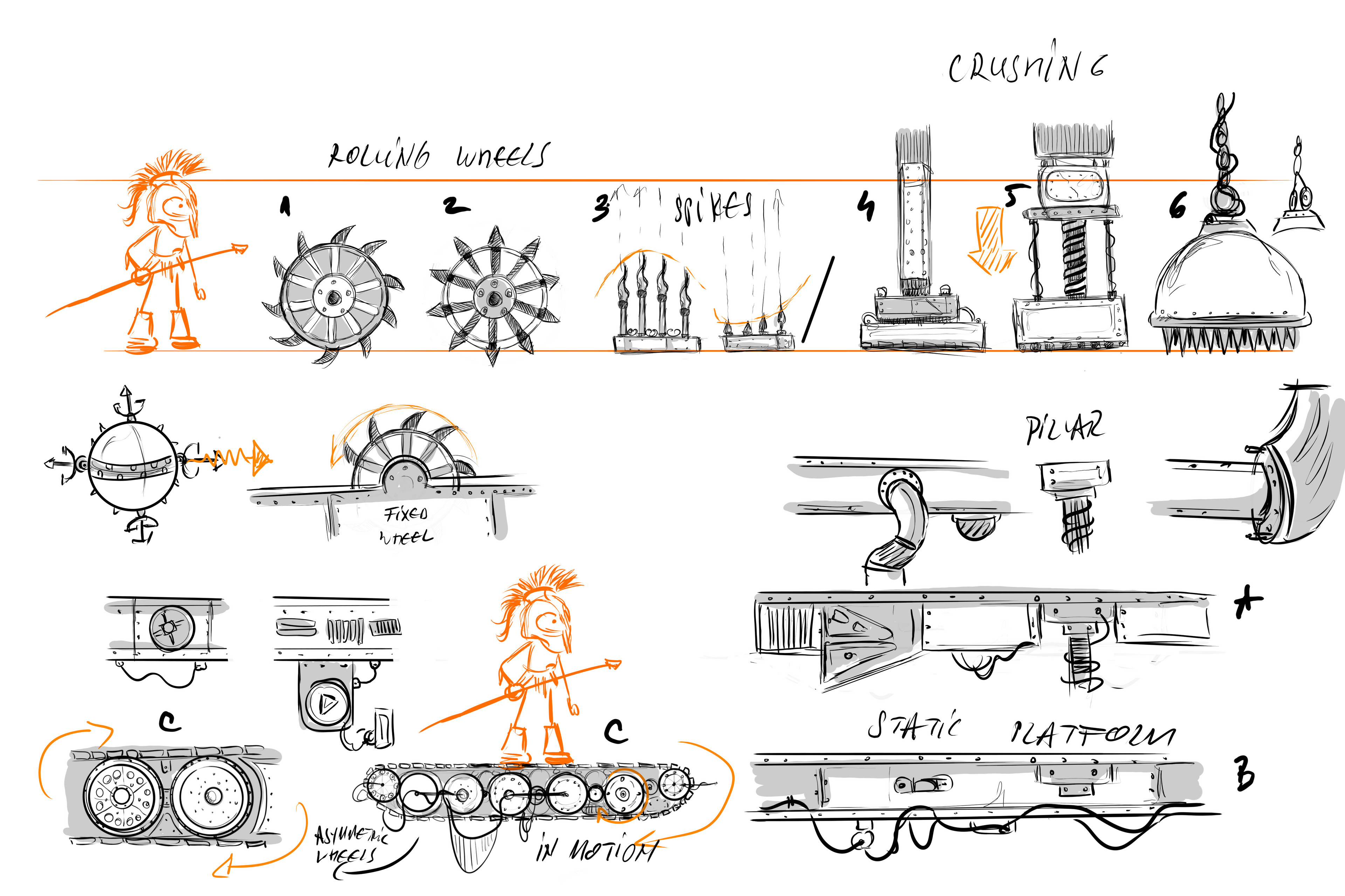 Environment early concept sheet, Double Moon, platform and obstacle