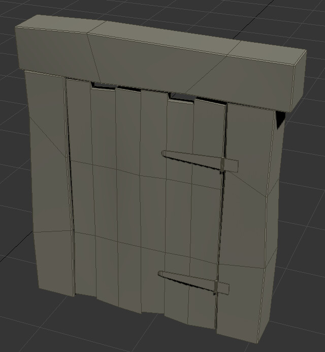 Isolated screenshot of the hut door model from the back