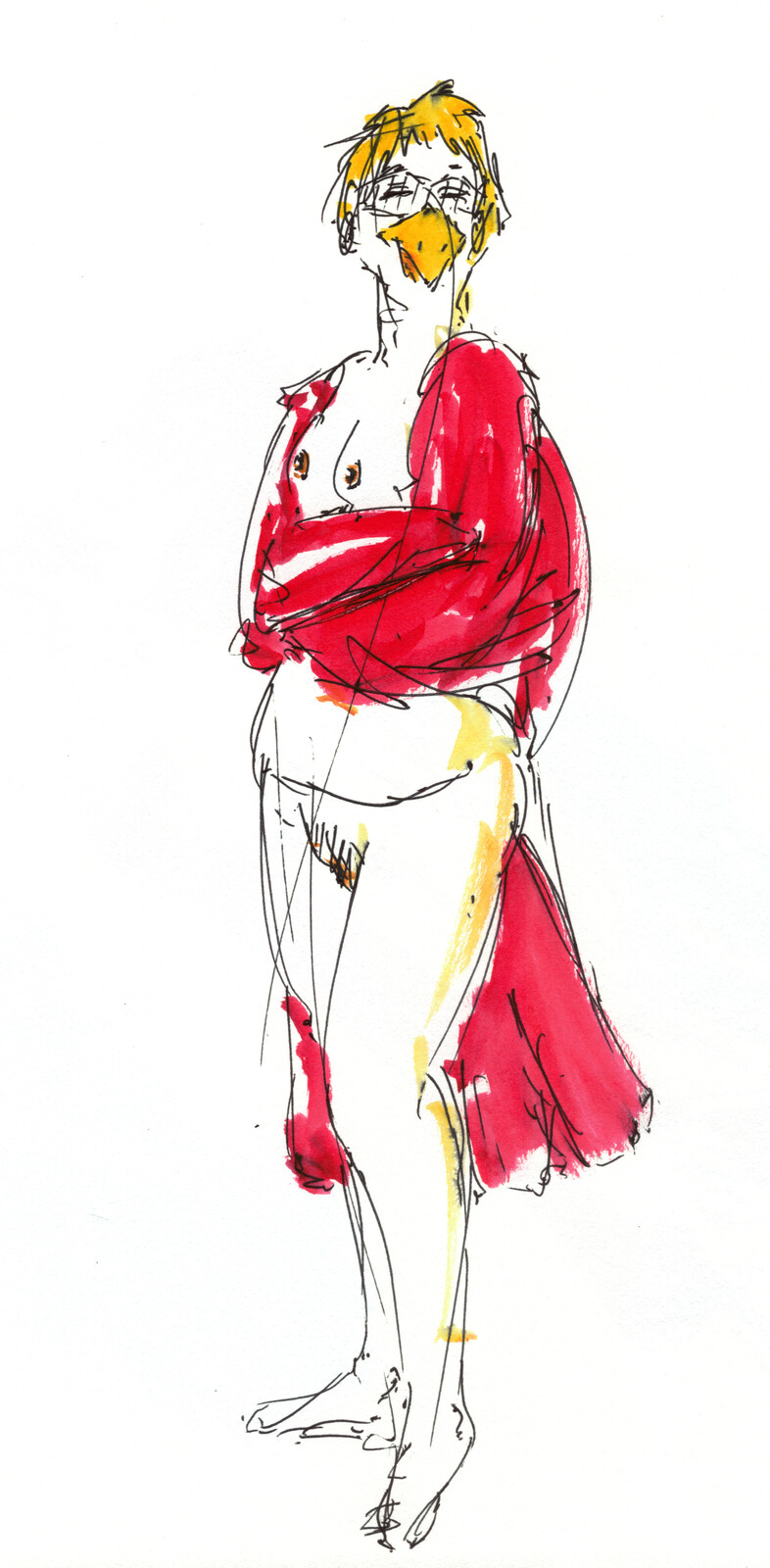 This is a model from one of our life drawing sessions, me using ballpoint pen, that red ink brush, and watercolours. I also added some bird features to push myself.