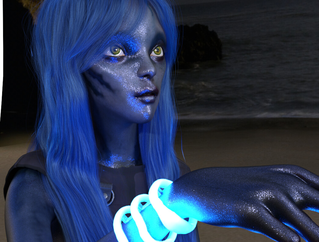 Blue Lira  designed by MoniGarr for XR projects (vr, ar, animation, 360 film, 180 film, flat film)