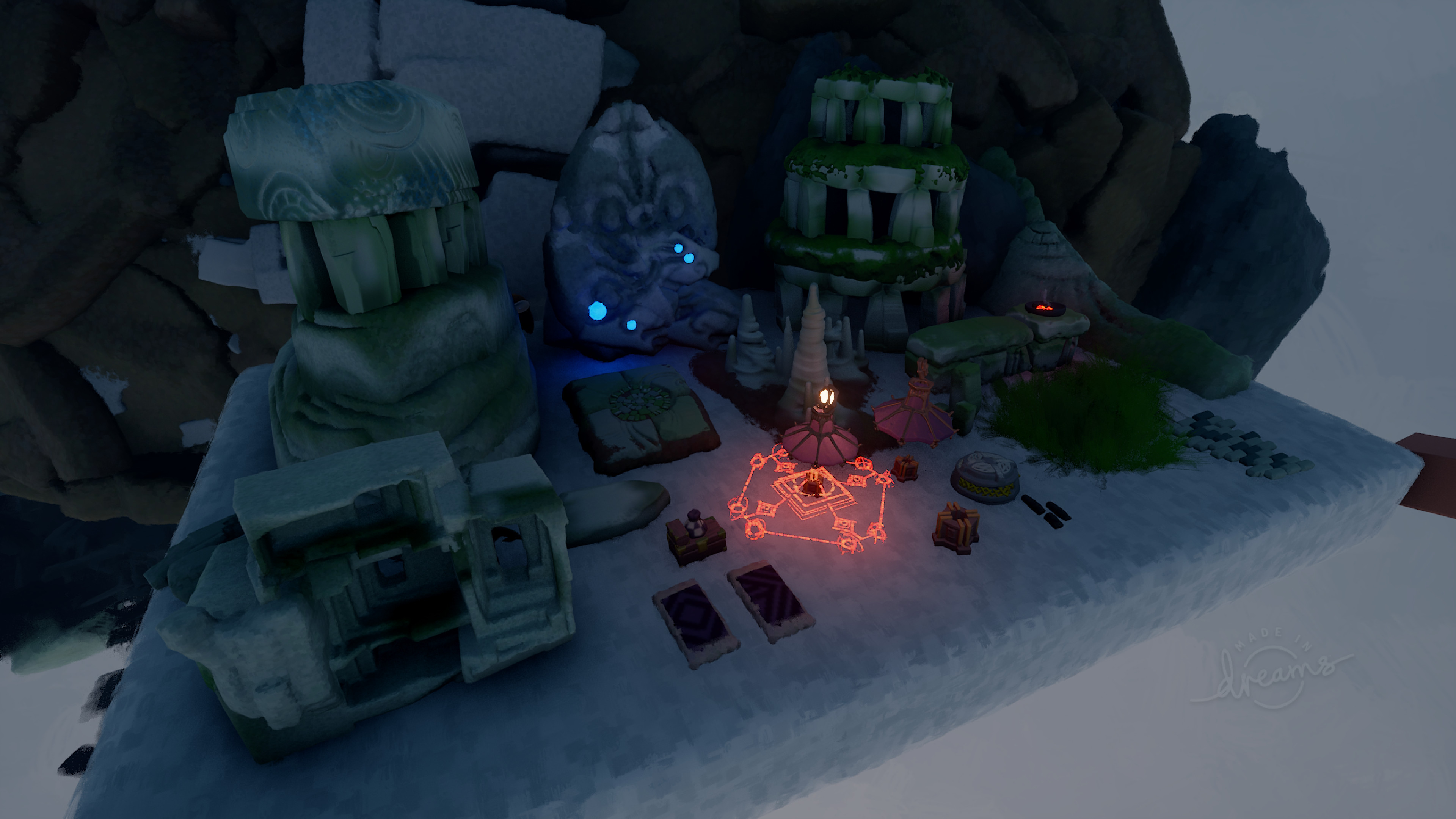 Original assets sculpted and reused throughout the scene