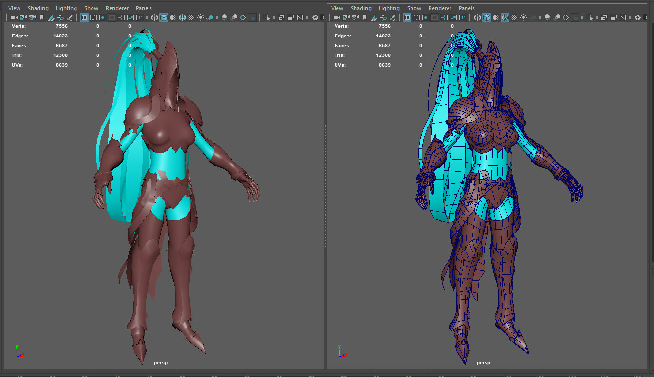 Character topology. Character has 12 308 tris.