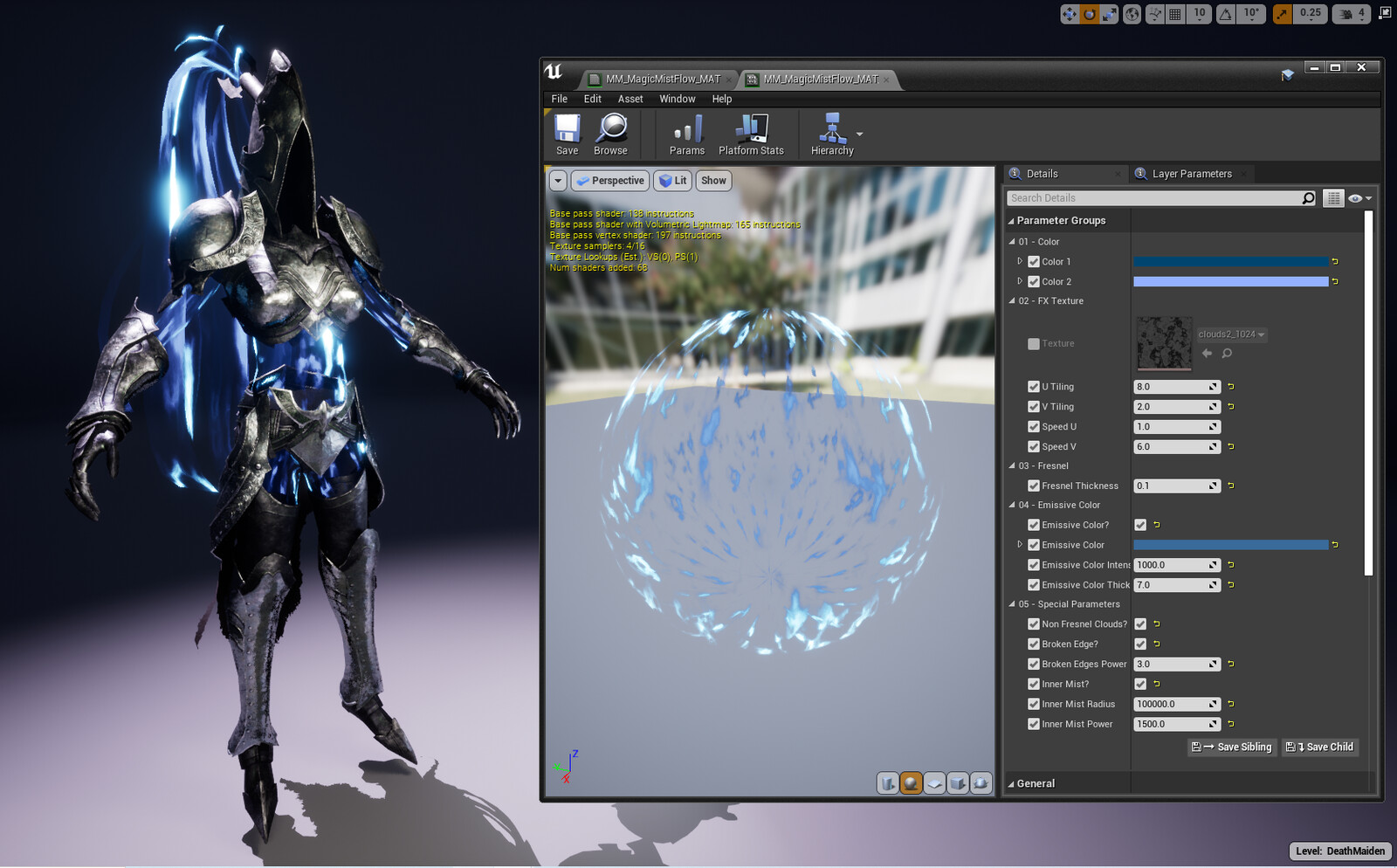 Body energy mist material in Unreal 4 (WIP)