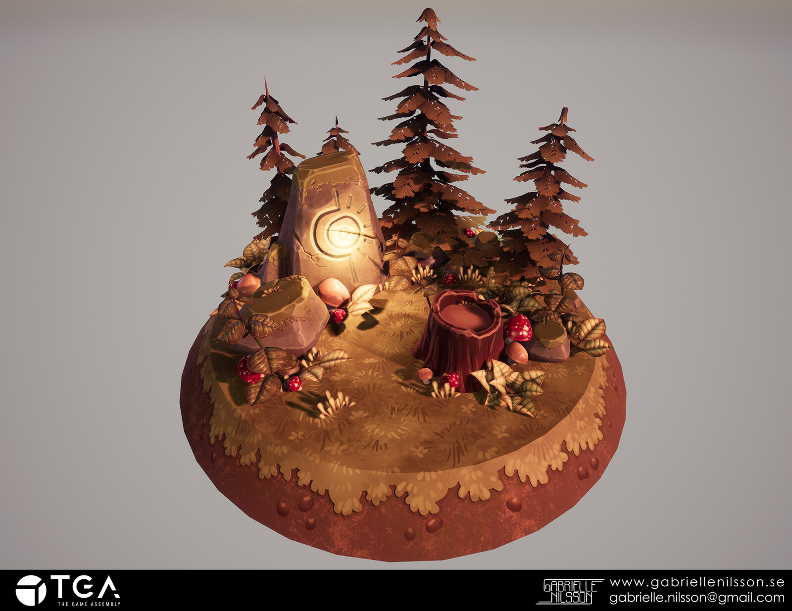 Stylized diorama environment. Here I wanted to create a warm and cozy mood, and also experiment a bit with foliage.