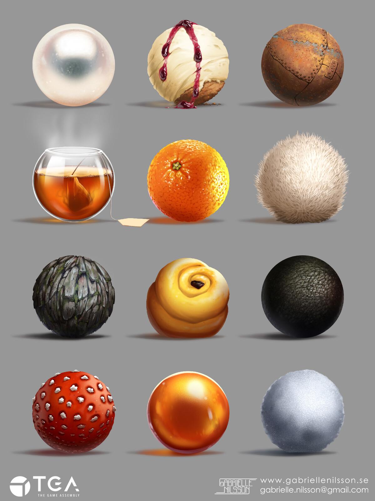 Material balls.  I'm still fond of the orange, haha!