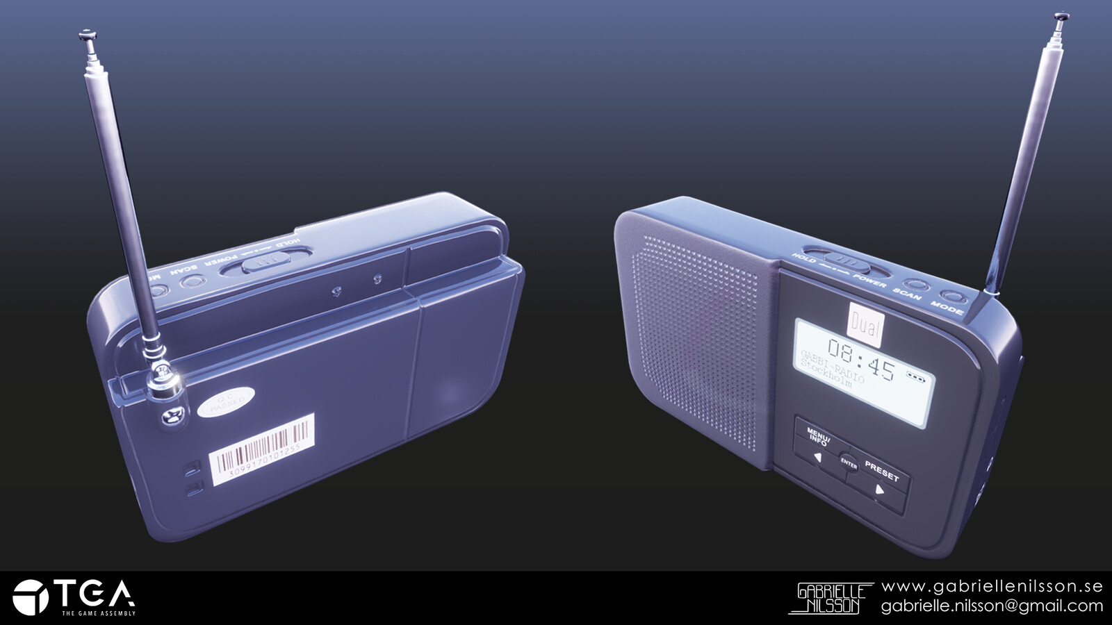 Portable radio! Made with Maya, and zBrush, where the goal was to work with zbrush's hard surface tools.