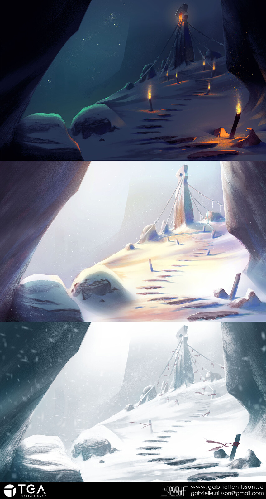 One environment, three different moods. Concept art assignment.