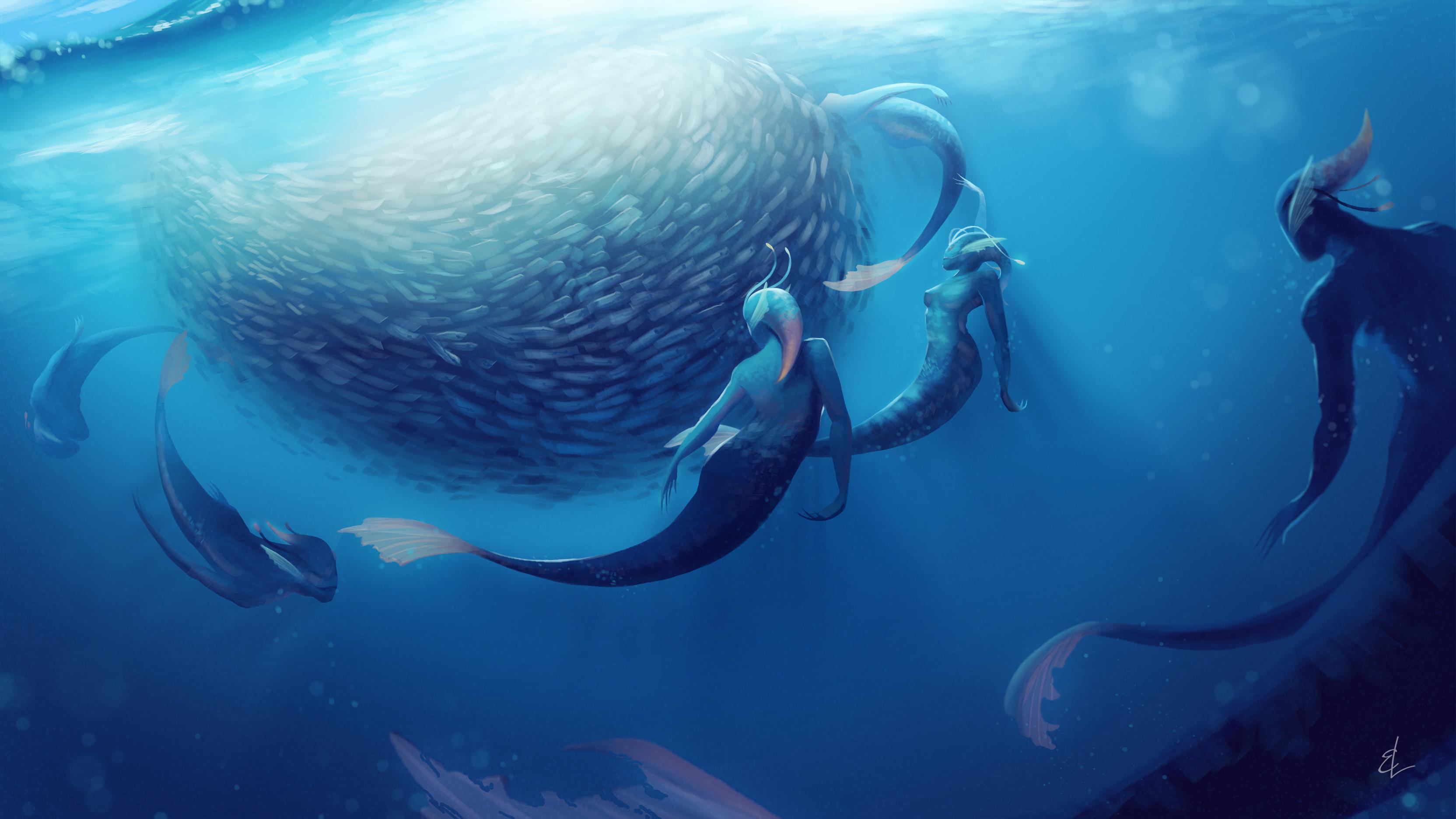 A merpod herding a school of tuna.