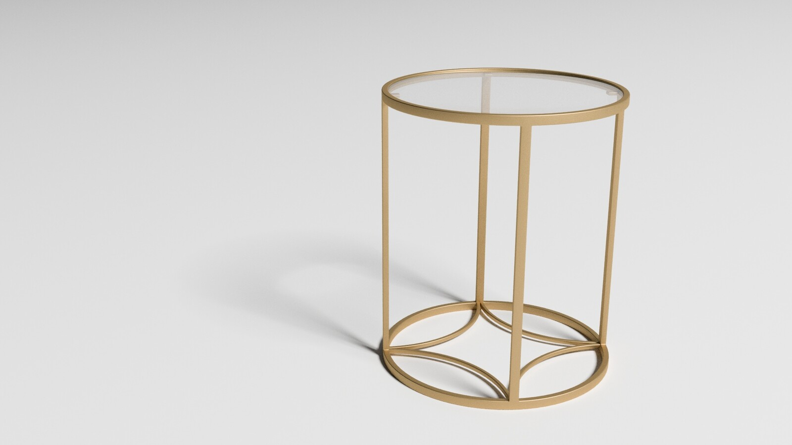 Round Top Gold and Glass Side Table