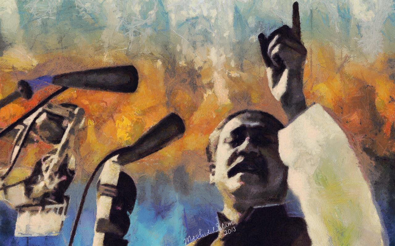 The historic 7th March Speech of Bangabandhu Sheikh Mujibur Rahman  License: Creative Commons Attribution-Noncommercial-No Derivative Works 3.0 License
