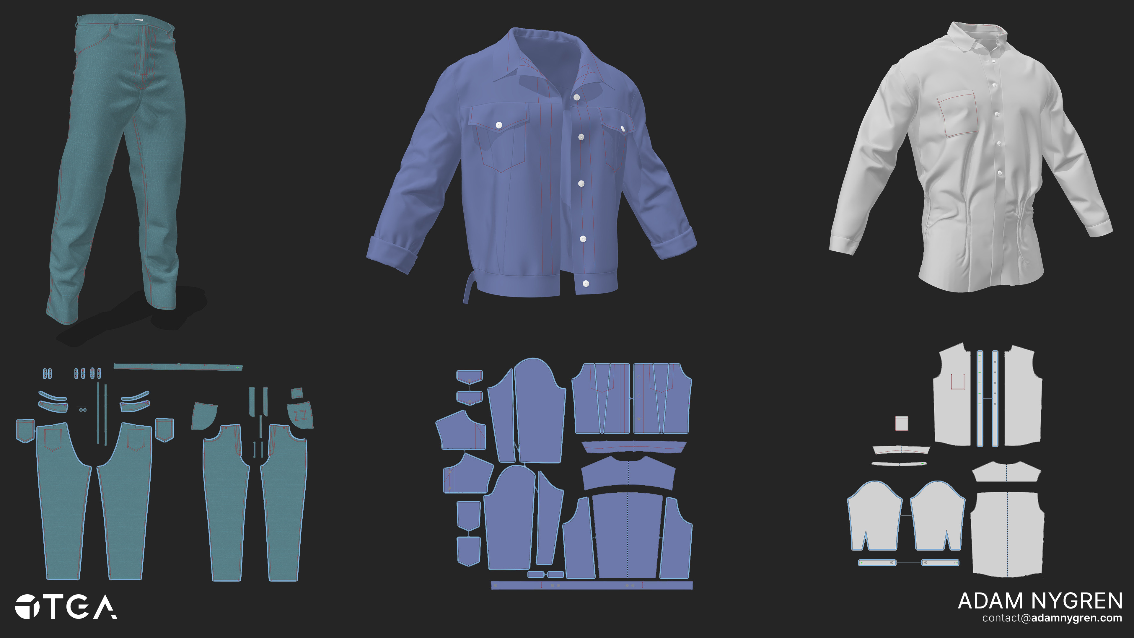 I used Marvelous Designer to make the clothes, then finalized them in Zbrush. Being my first time working with Marvelous it was a rough start, but I quickly became familiar with the program and ended up loving to work with it.