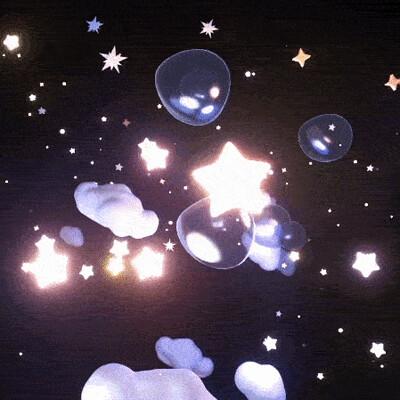 Judy kao artstation gif stars and bubbles sky