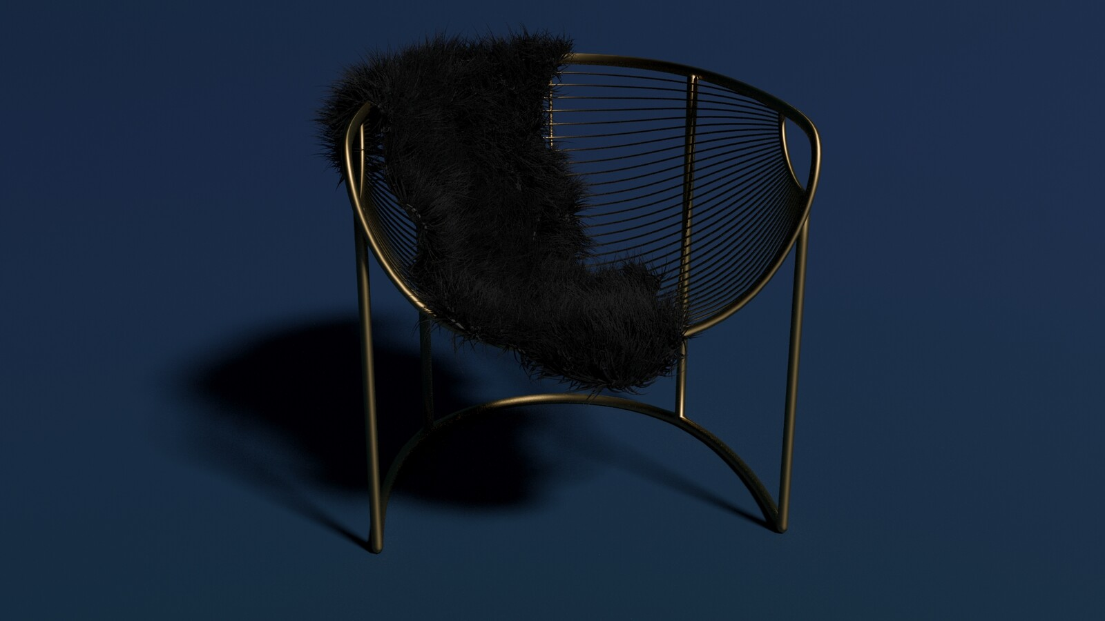 Blue Background/Black Fur Throw