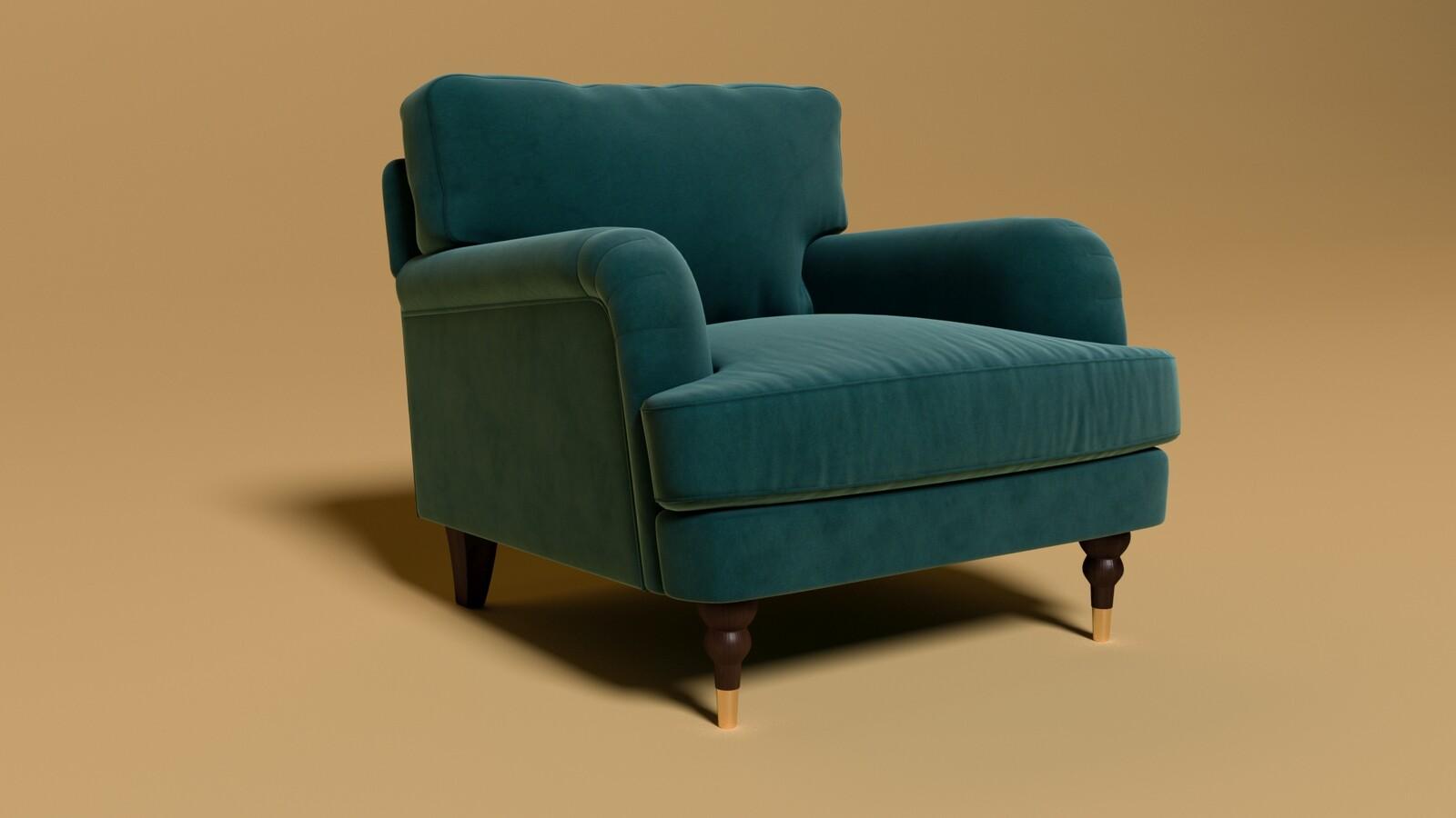 Charlbury Armchair in Kingfisher Velvet. - Rendered in Corona Renderer.