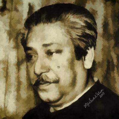 Md saidul islam 38 portrait of bangabandhu sheikh mujibur rahman