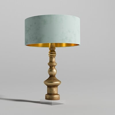 Freddie o reilly golden turned wooden lamp