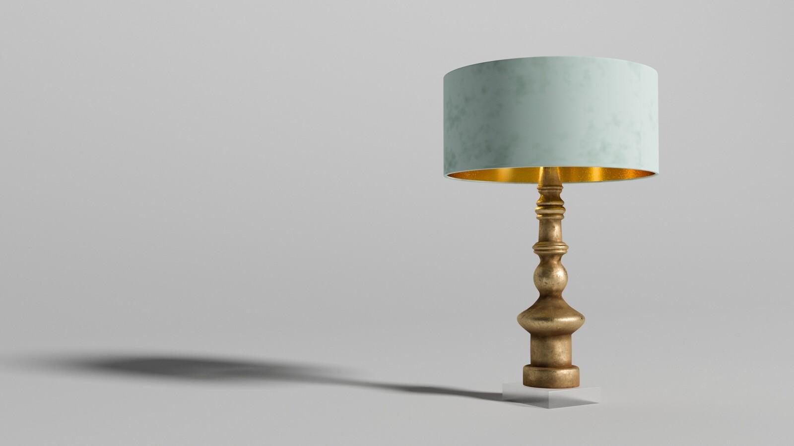 Golden Turned Wooden Lamp