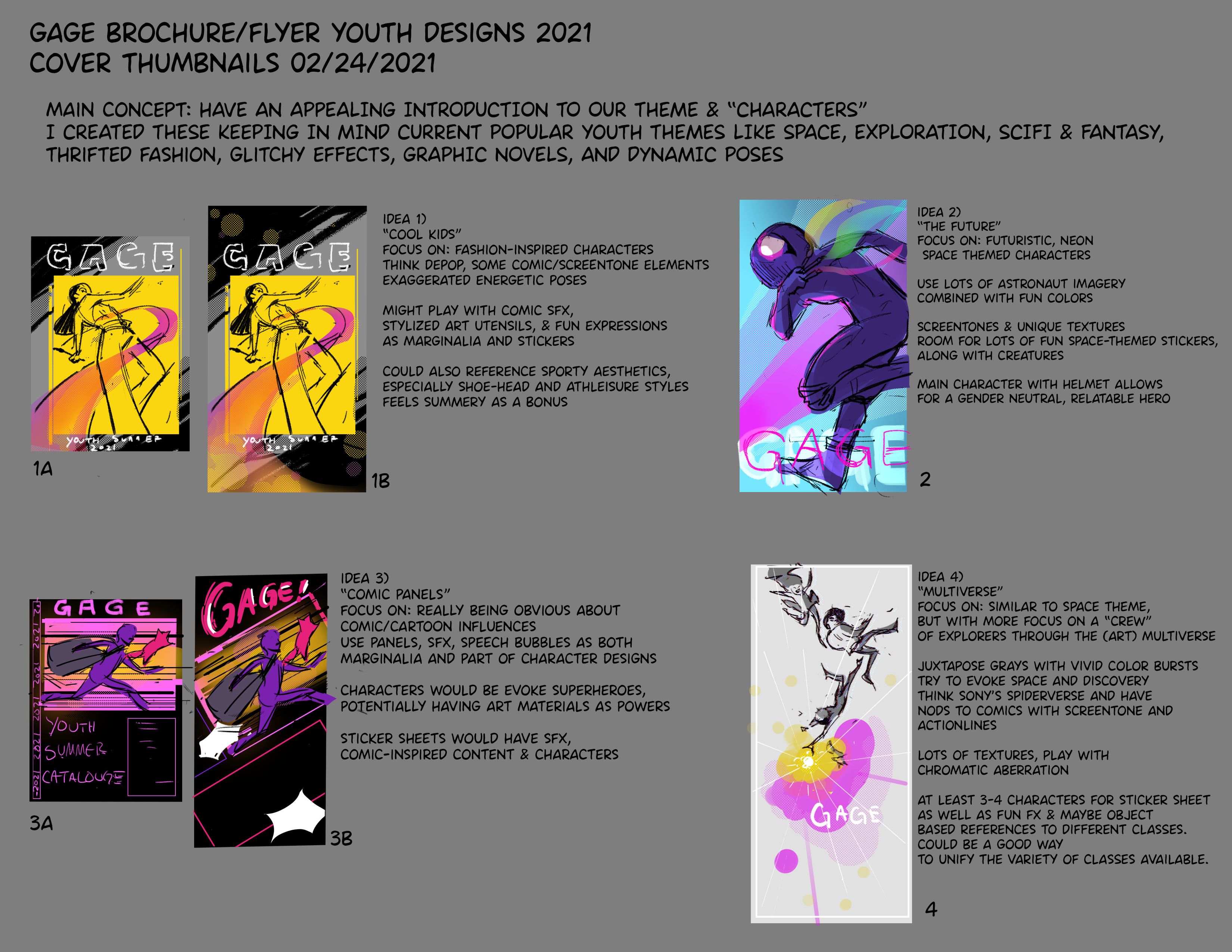 initial concepts for cover, characters, and mood