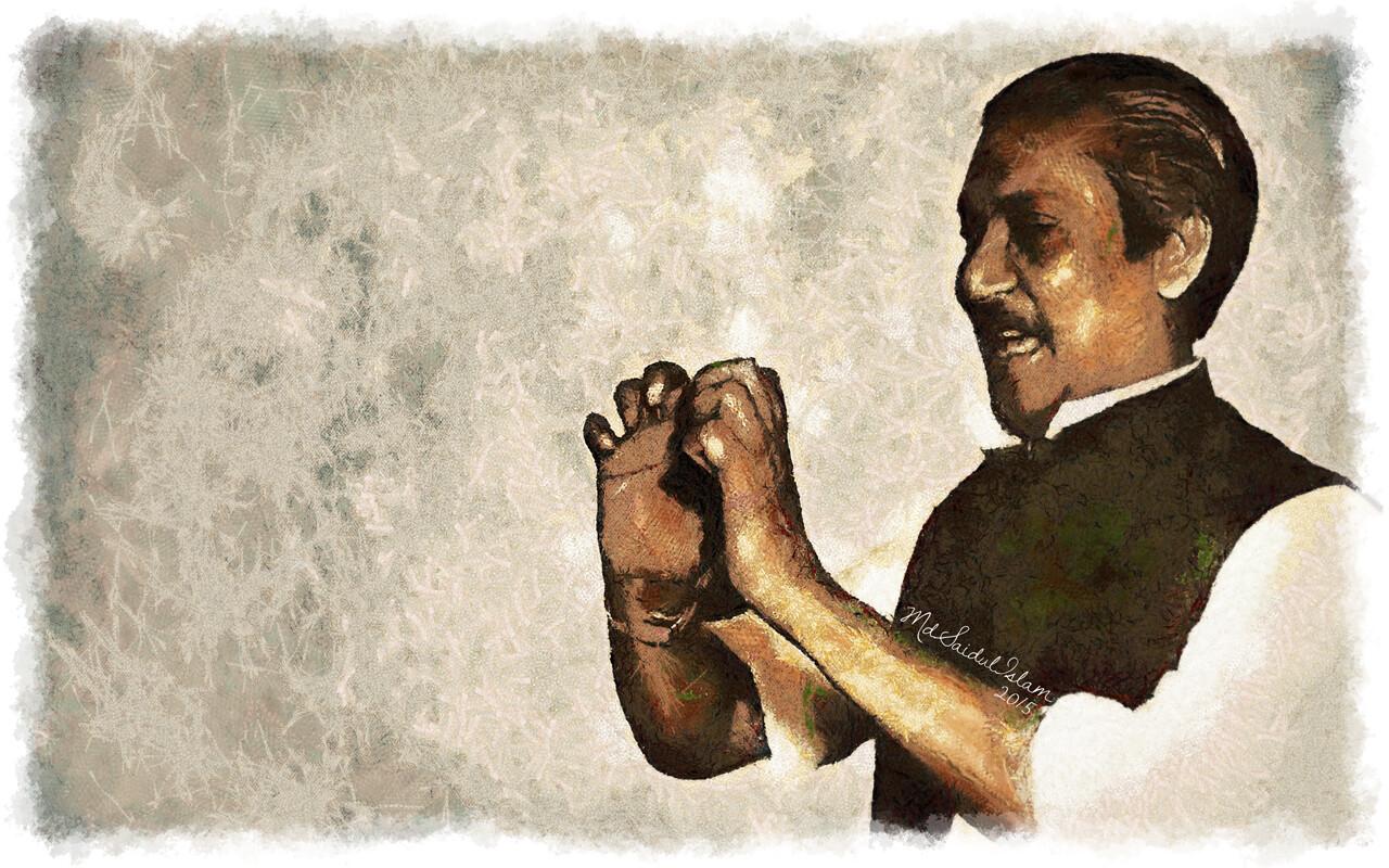 A digital illustration of Bangladesh's founding leader Bangabandhu Sheikh Mujibur Rahman  License: Creative Commons Attribution-Noncommercial-No Derivative Works 3.0 License