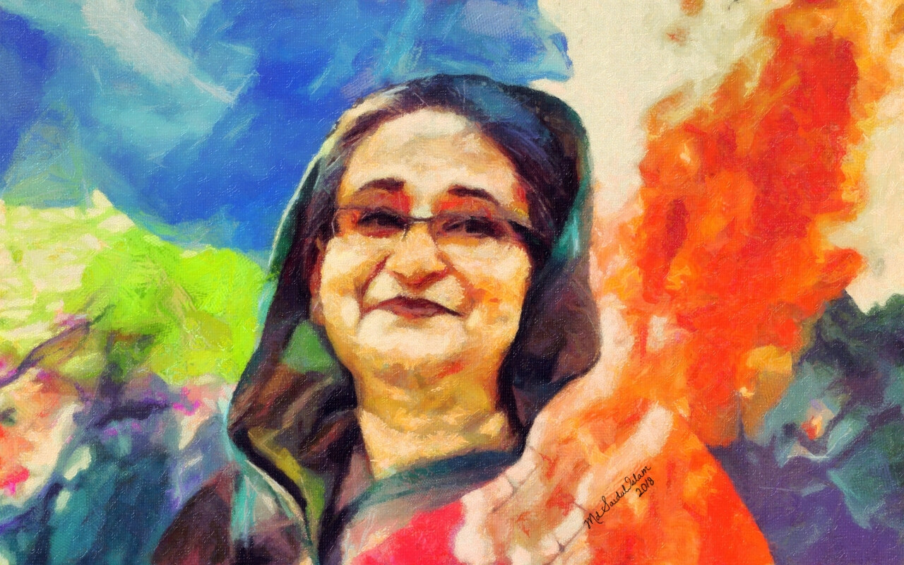 A digital portrait of Sheikh Hasina, the Ambassador of Peace  License: Creative Commons Attribution-Noncommercial-No Derivative Works 3.0 License