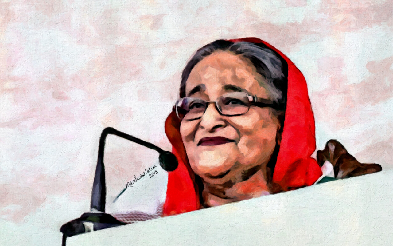A digital portrait of Sheikh Hasina, a leader with courage and vision  License: Creative Commons Attribution-Noncommercial-No Derivative Works 3.0 License