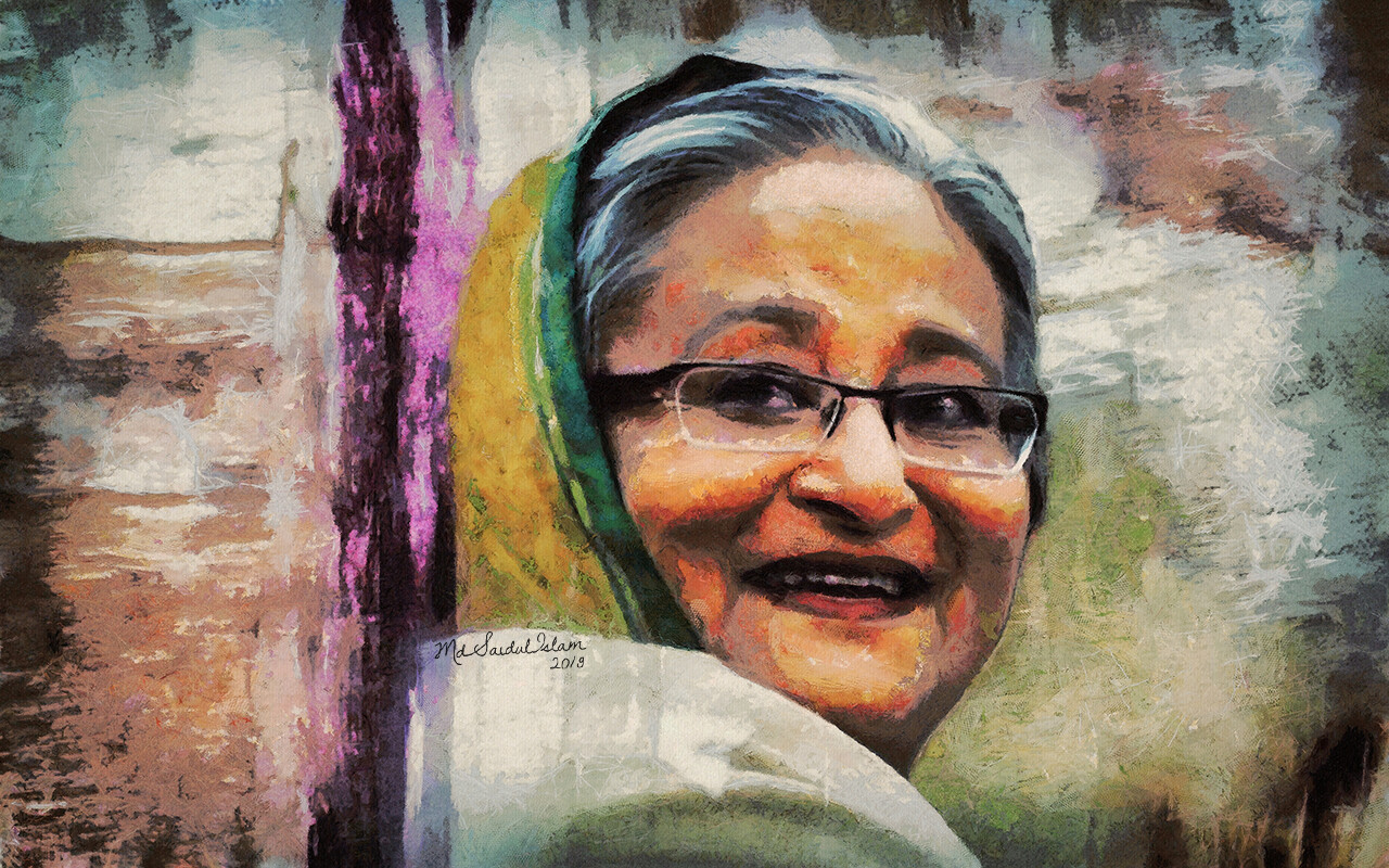 A digital portrait of Sheikh Hasina, the Beacon of Hope  License: Creative Commons Attribution-Noncommercial-No Derivative Works 3.0 License