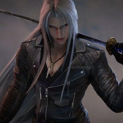 Sephiroth in biker gear