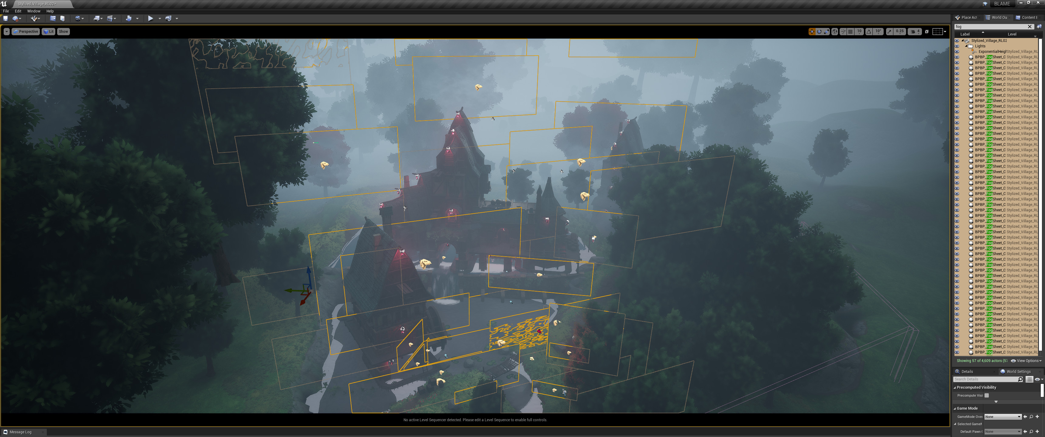 """For this one, I put the emphasis on the fog and depth rather than lighting. So I used a lot of fog cards to layer the depth. The one I'm using is from the """"Blueprint"""" free demo map on the UE4 launcher. Very vanilla but effective."""