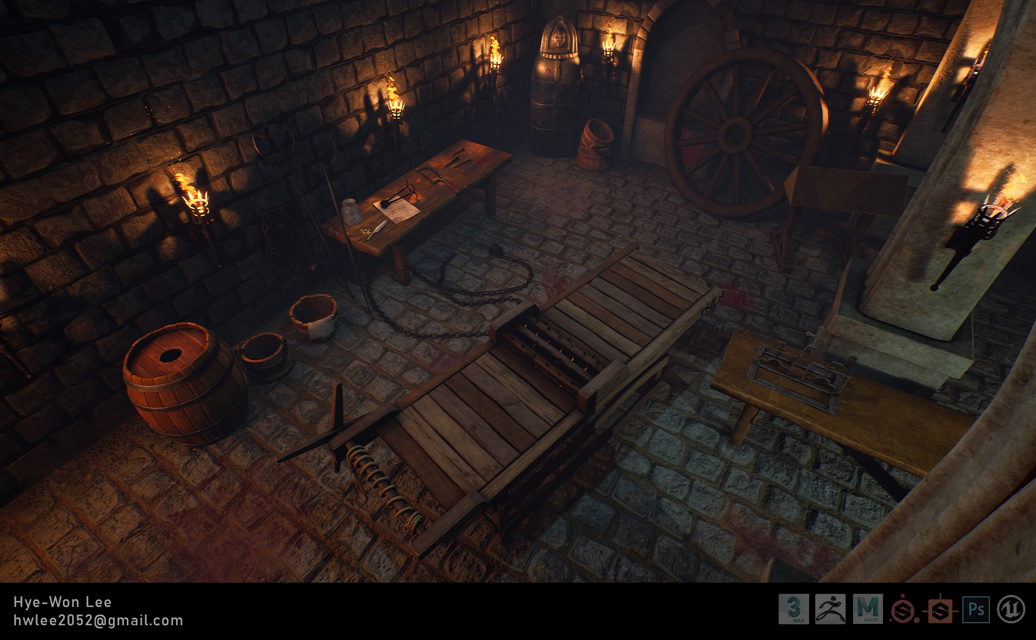 Overhead view. Floor and wall materials were created in Substance Designer