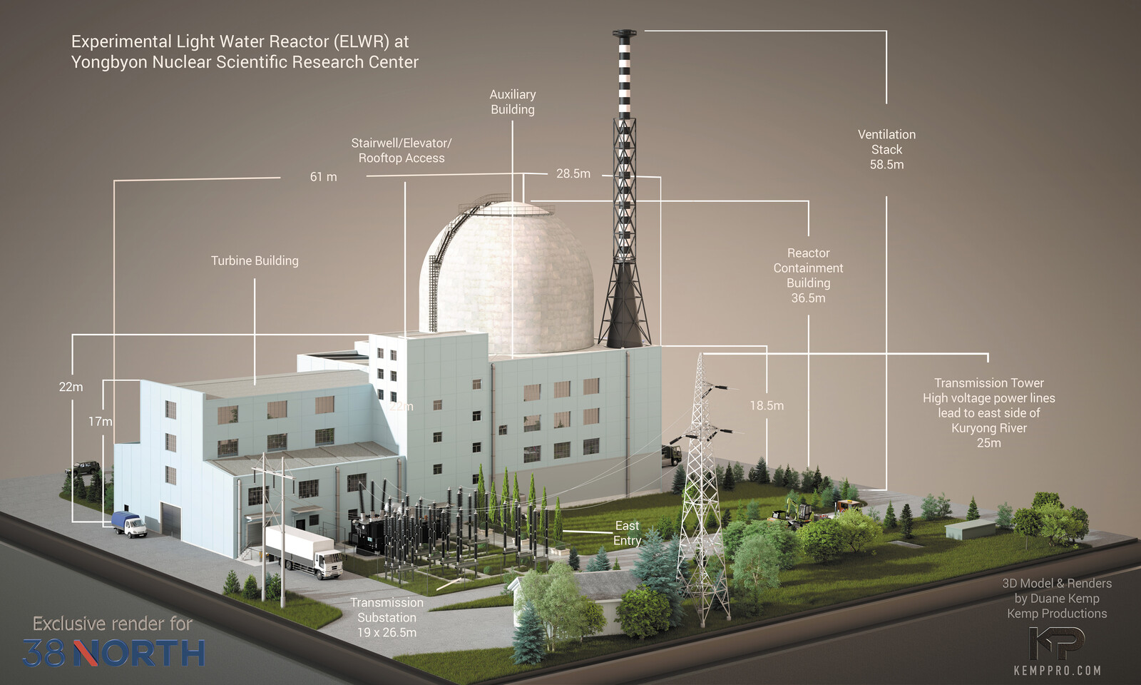 DPRK ELWR (Experimental Light Water Reactor) for 38 North's website presentation: https://www.38north.org/resources/2021/04/photo-galleries/yongbyon-experimental-light-water-reactor-render/ -Detail work 5b Display test-Scene 34 w-Measures Final 6666x4000-
