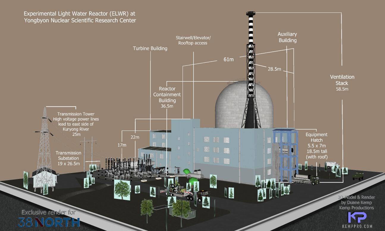SketchUp 2021 DPRK ELWR (Experimental Light Water Reactor) 38 North's website presentation: https://www.38north.org/resources/2021/04/photo-galleries/yongbyon-experimental-light-water-reactor-render/  Detail work 5b Display test-Scene 31 w-measures SU