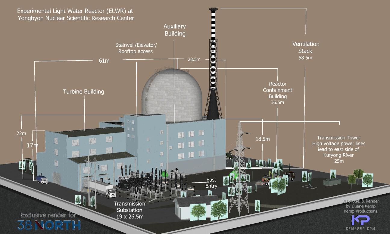 SketchUp 2021 DPRK ELWR (Experimental Light Water Reactor) Render for 38 North's website presentation: https://www.38north.org/resources/2021/04/photo-galleries/yongbyon-experimental-light-water-reactor-render/  Detail work 5b Display test-Scene 34 SU