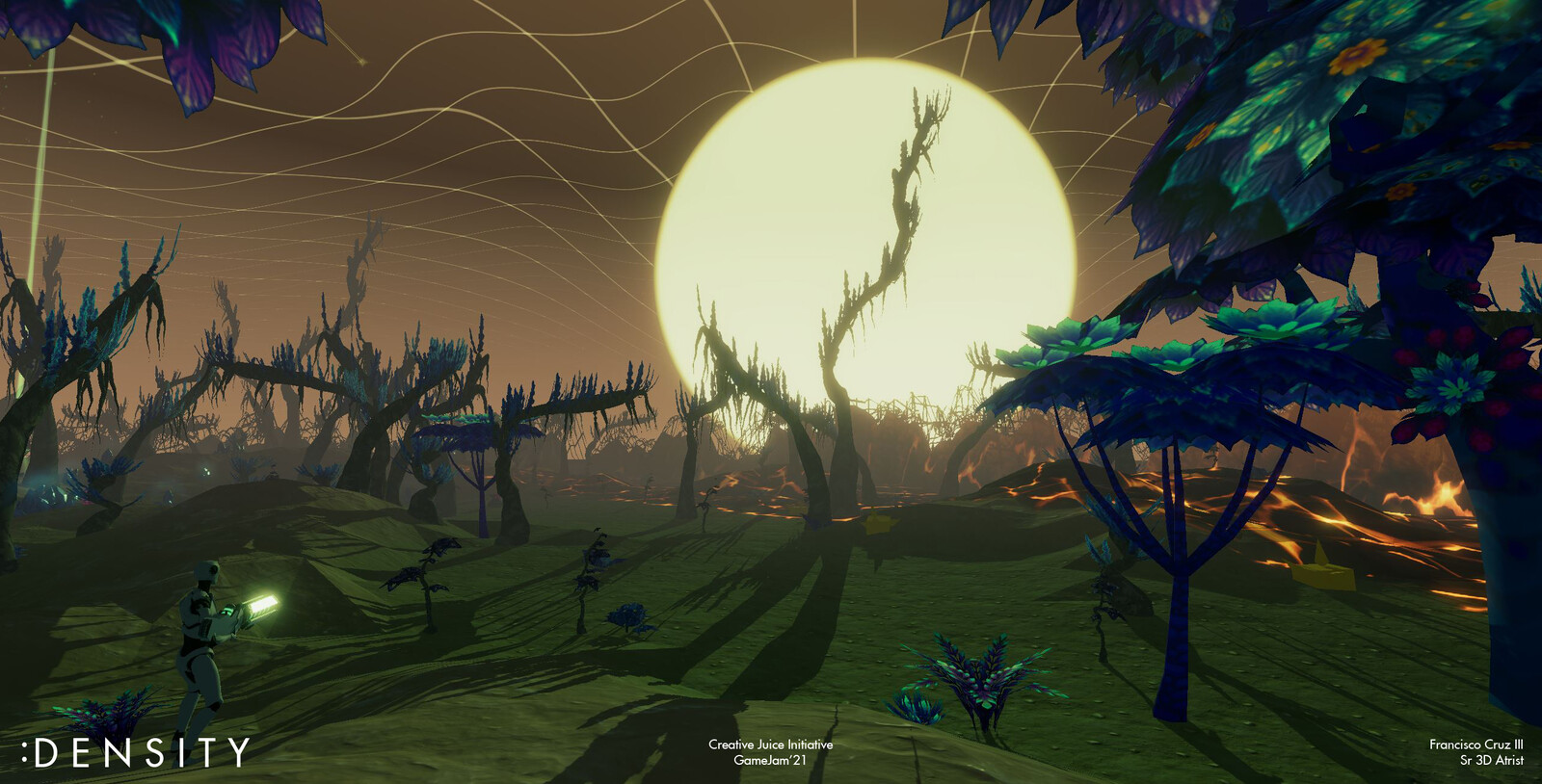 View of the sun setting in the Swamplands.