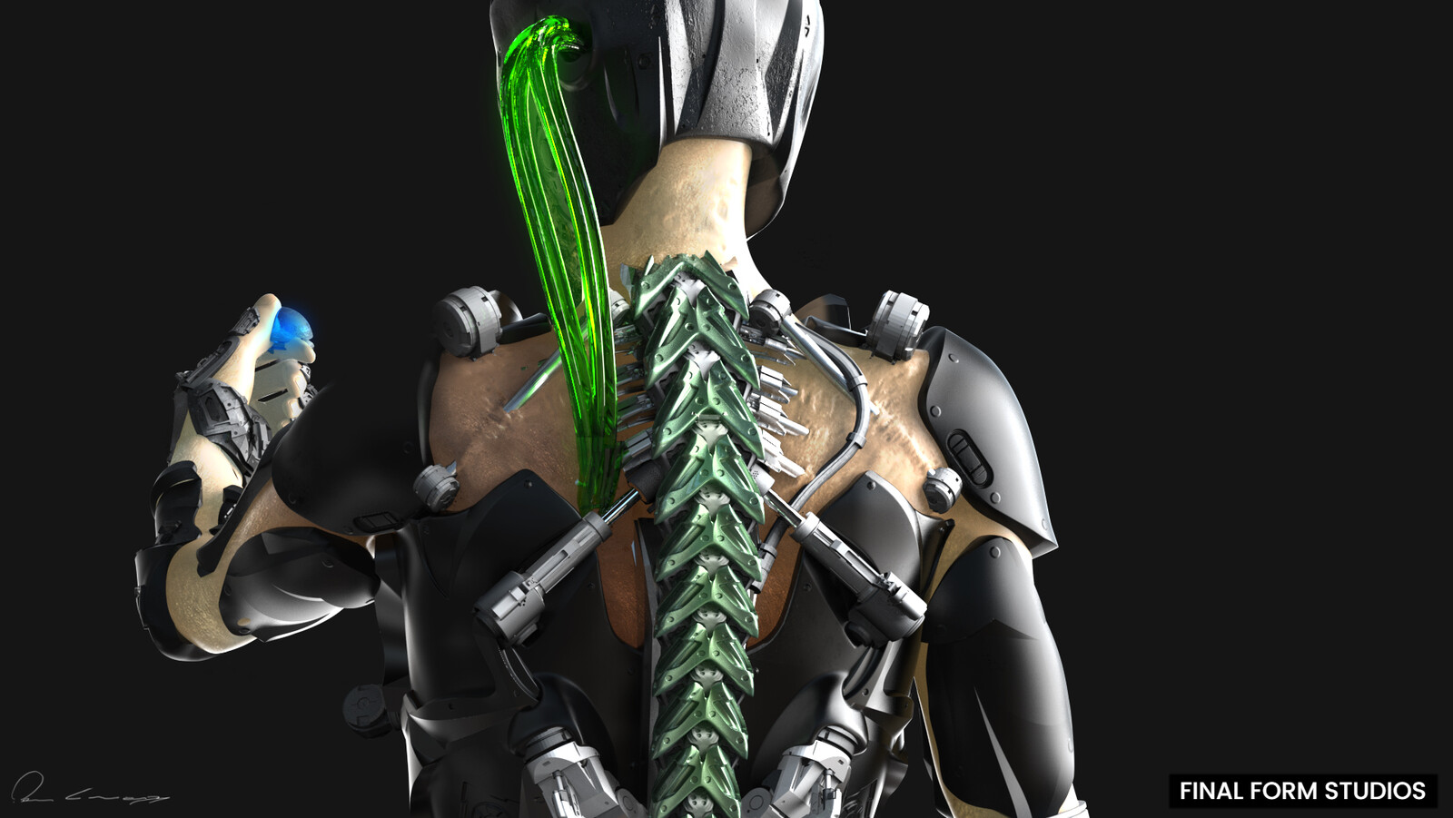 The exo thoracic spine is basically a strong cage, designed to protect the vital organs of the heart and lungs. This exosuit was built with 10 vertebral bodies in the upper back make up the thoracic spine. The firm attachment of the rib cage at each level