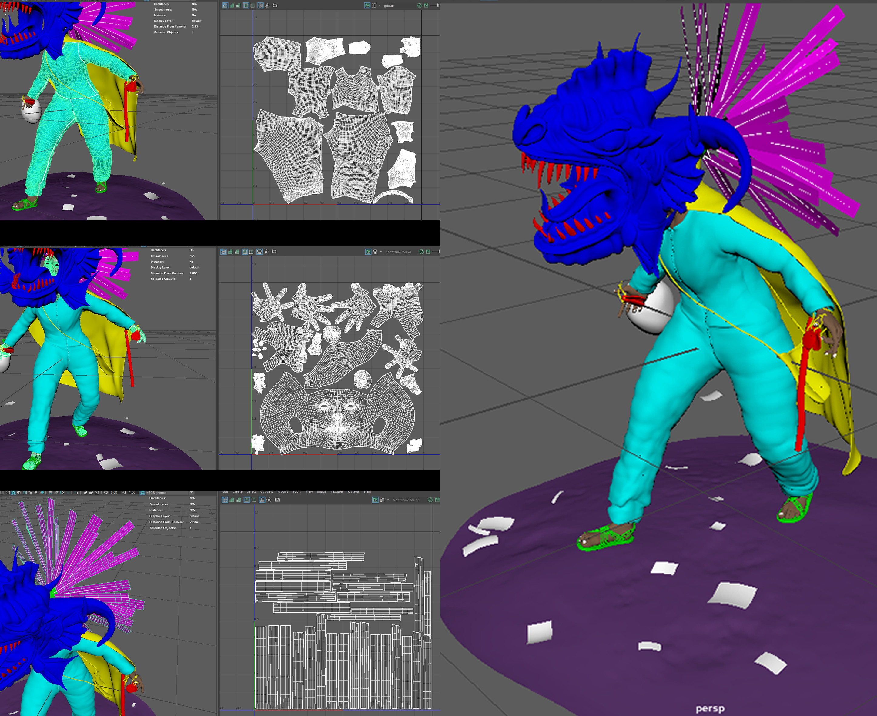 Main UVs and material groups - because the body was hidden mainly by the clothing, I made the UV shells of the torso, legs, and arms really small, while maintaining the correct size for the head, hands, and feet.