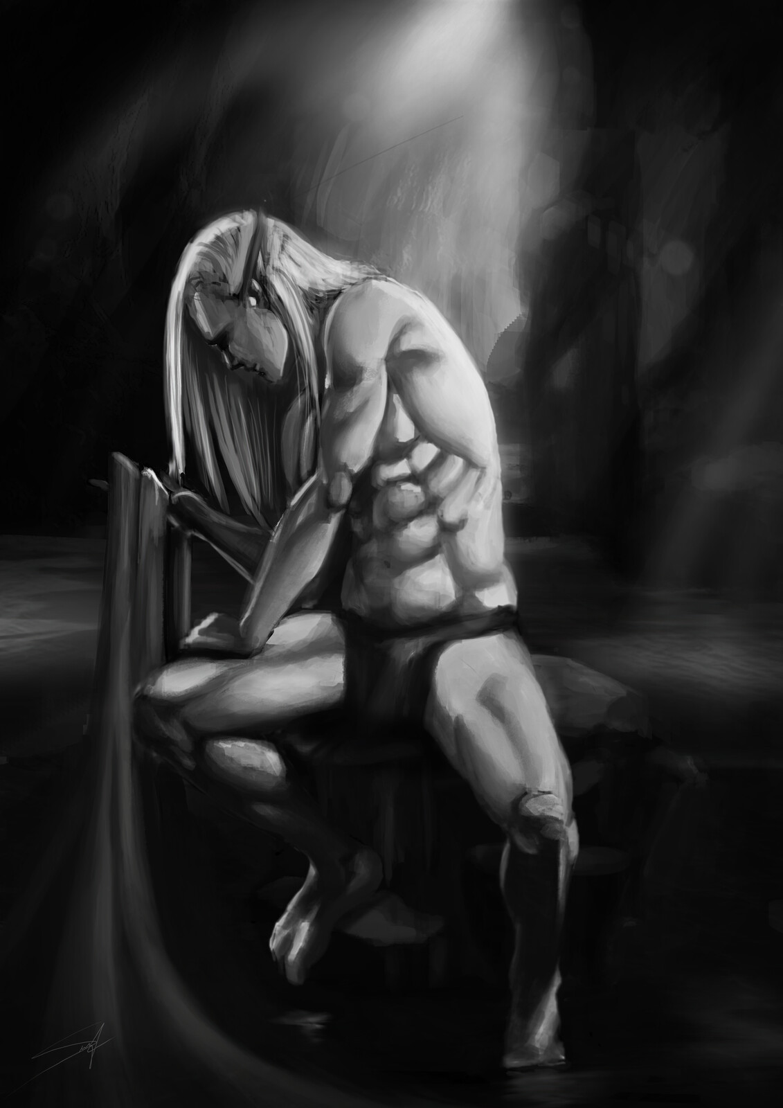 Solitary Elf - Male Anatomy Art