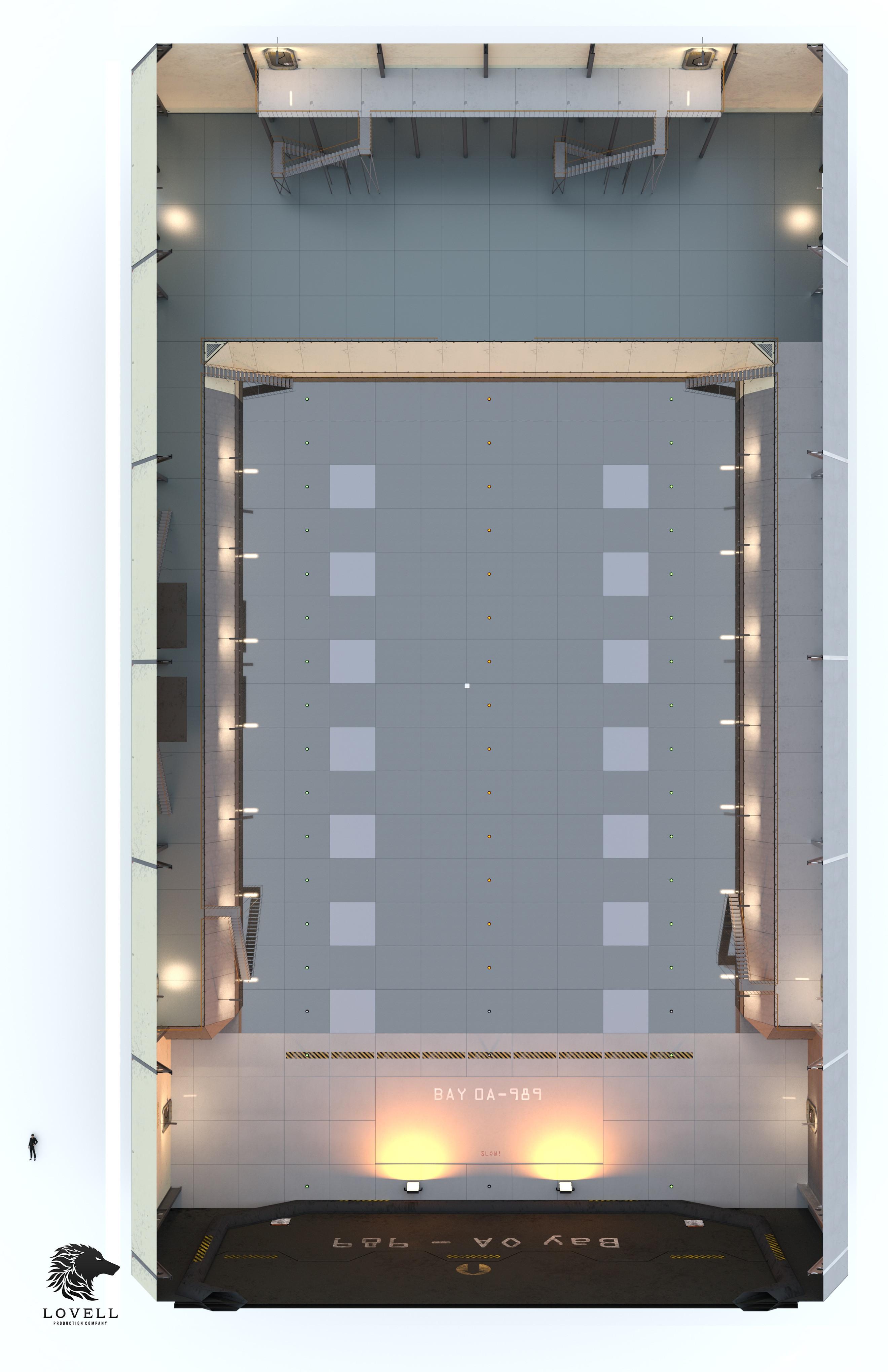 VTT section plane view of 3D hangar Scene, DAZ3D.