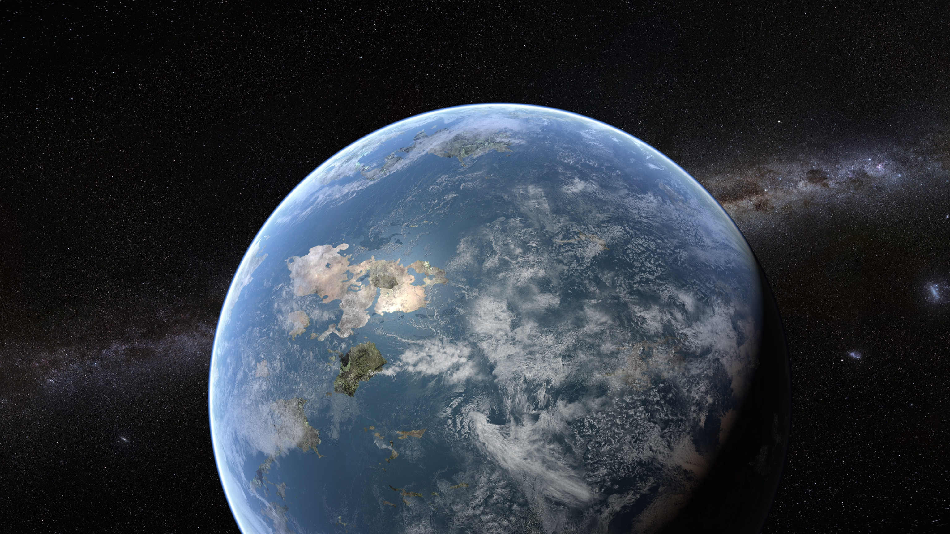 Experiment with a Photoshop kit to make a planet. :-)
