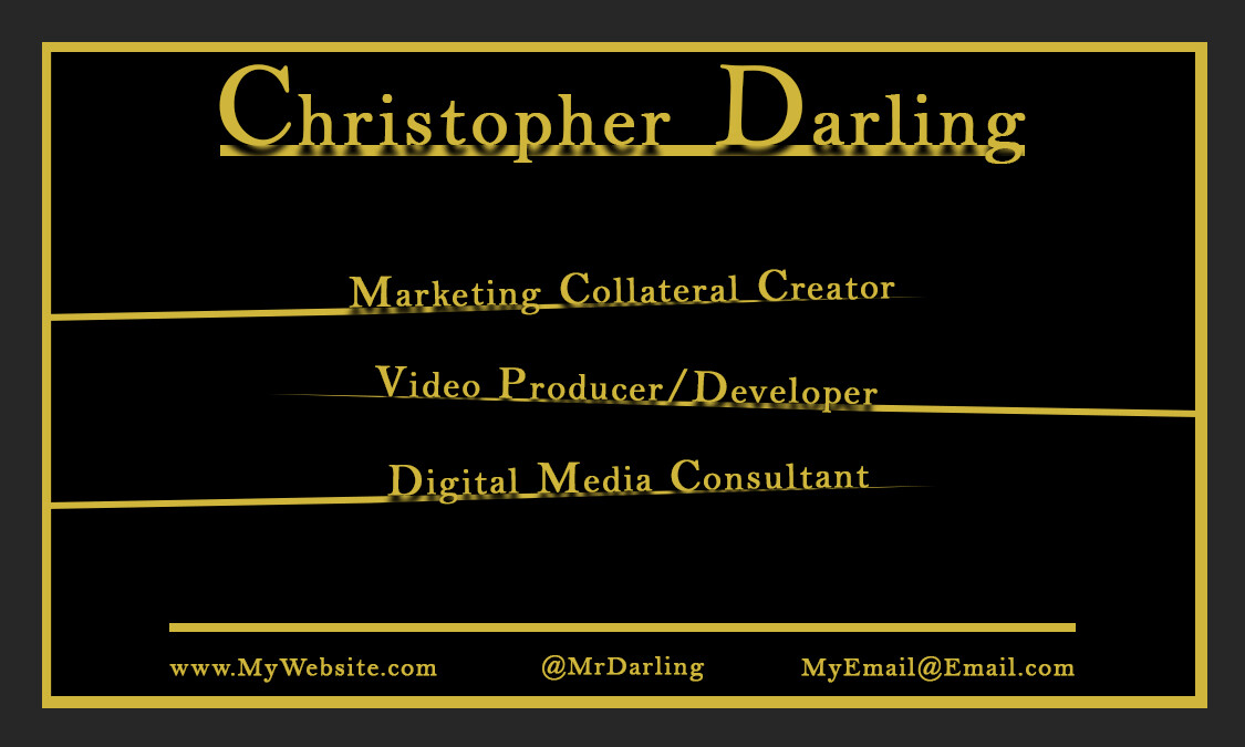 Back side of the Mr_Darling business card concept #1