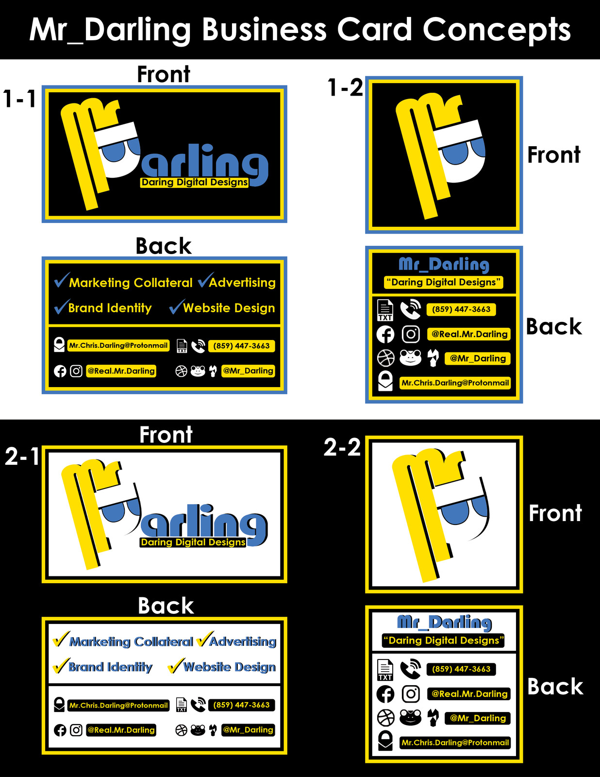 The different variations for the 2nd round of concept designs for the business card