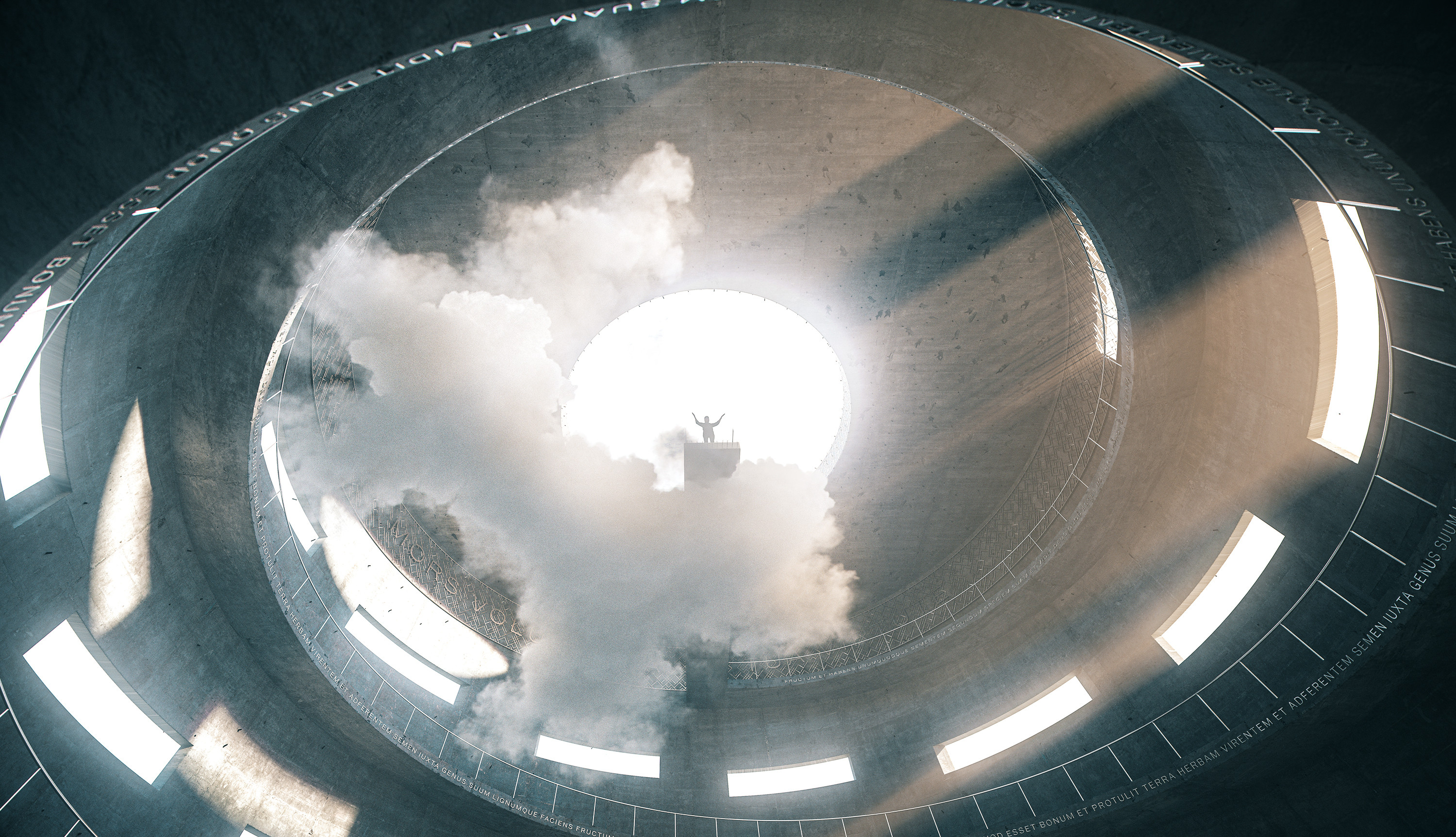 A man is about to commit suicide in Suicidarum silo XXV. Poisonous cloud of  BF₃ obstructs the view of raw concrete floor, encouraging suicider to jump with less hesitation.