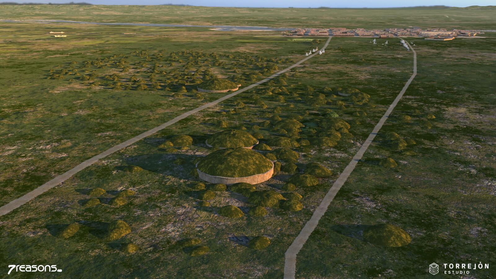 3D visualisation of the graveyard next to Flavia Solva.