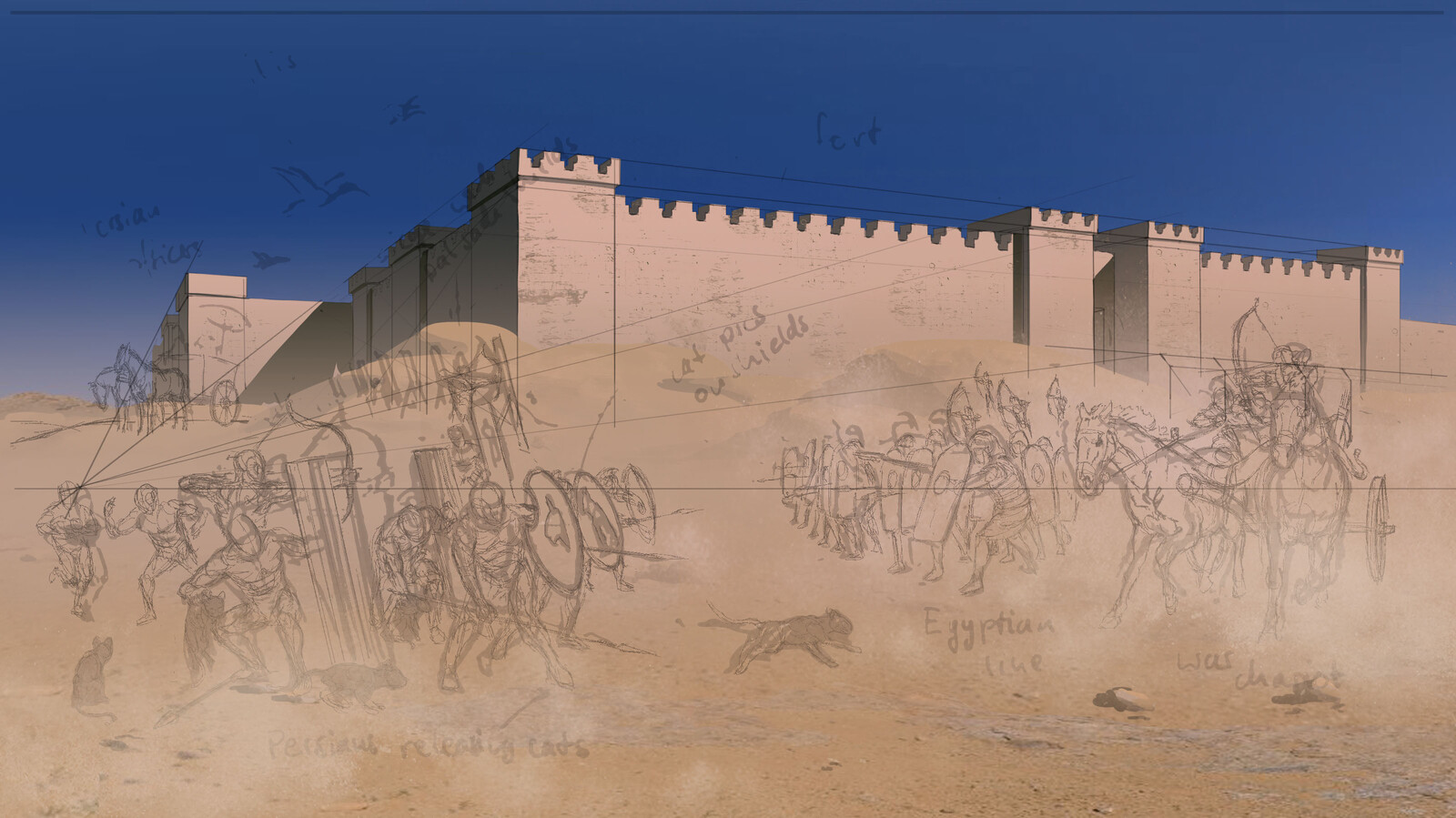 Early work stage of Battle of Pelusium painting