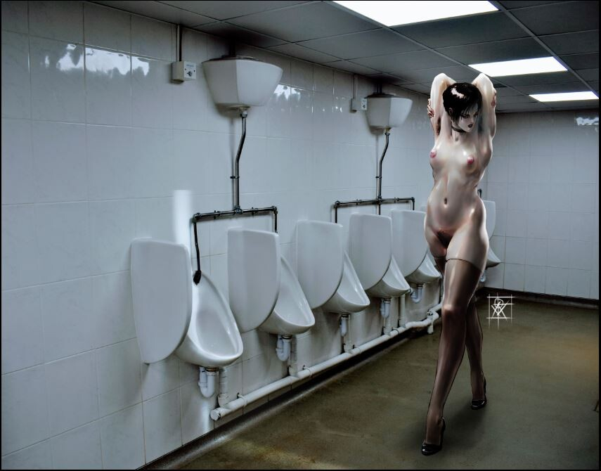 Nude in public toilet