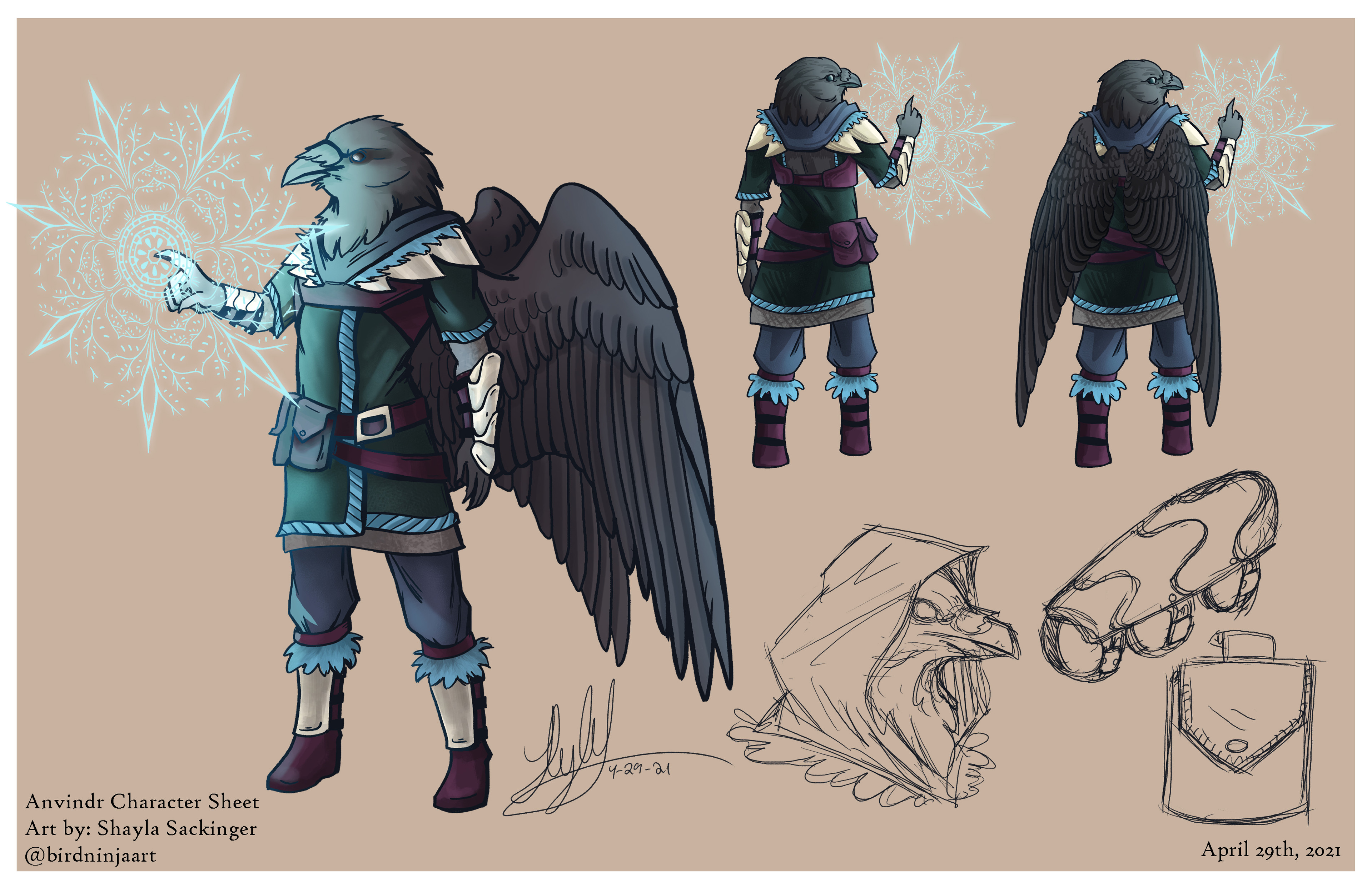 The final renders of my raven character, Anvindr.