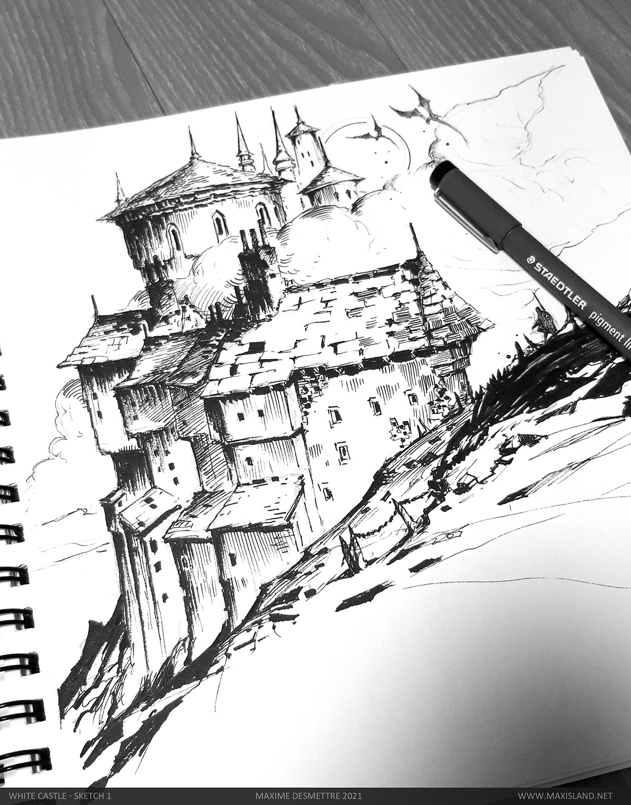 Sketch 1 (foreground) Pen on paper