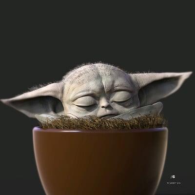 Surajit sen sleeping baby yoda digital sculpture surajitsen april2021aa l
