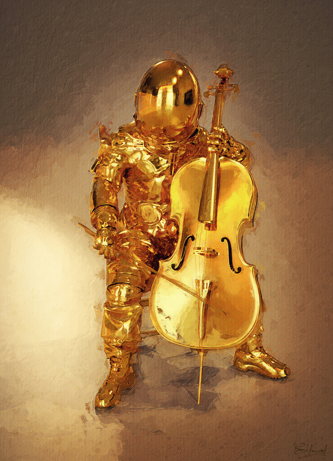 Warmer than gold, The cello player