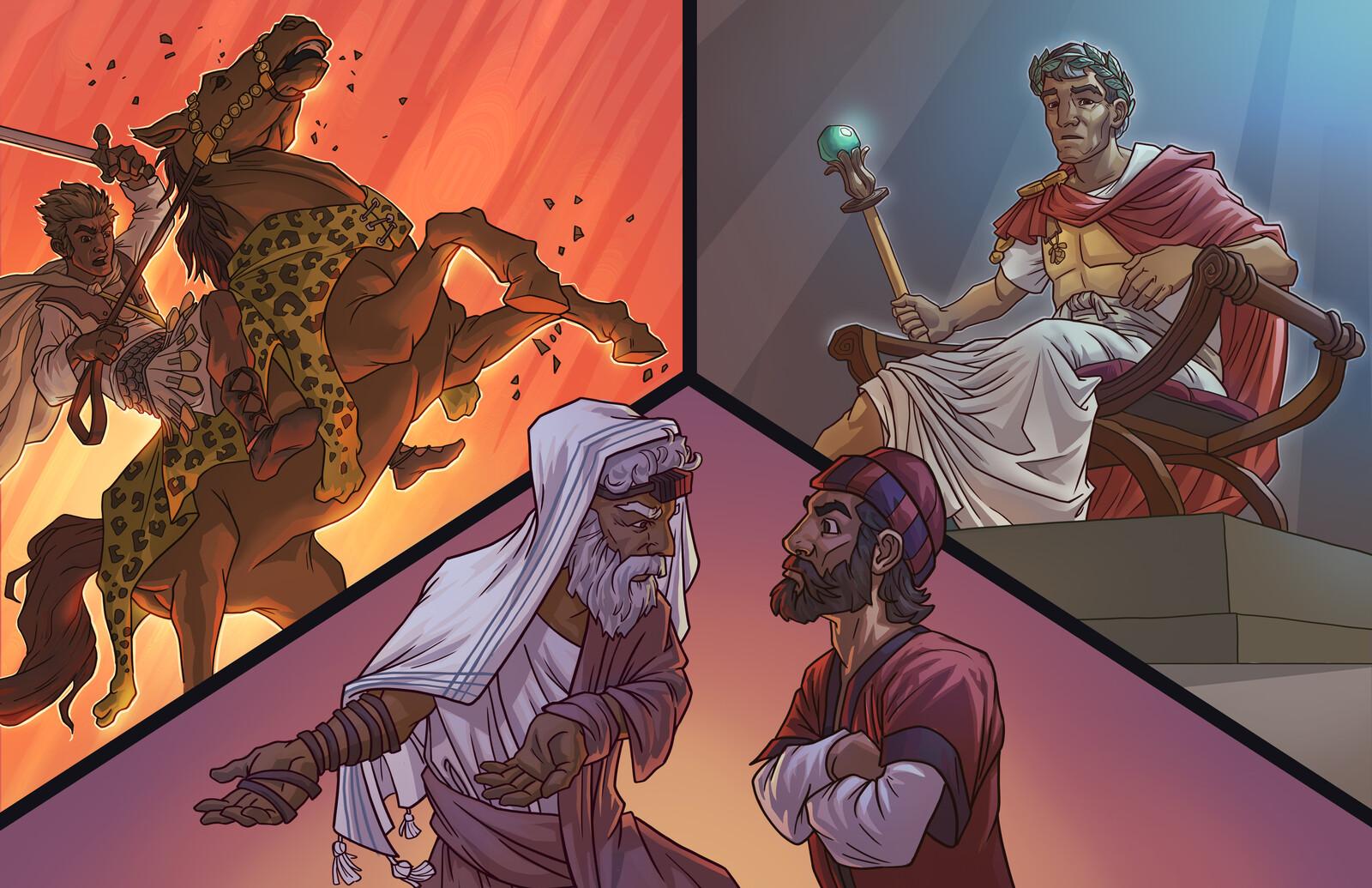 Alexander the Great, Caesar, and a Pharisee and Sadducee