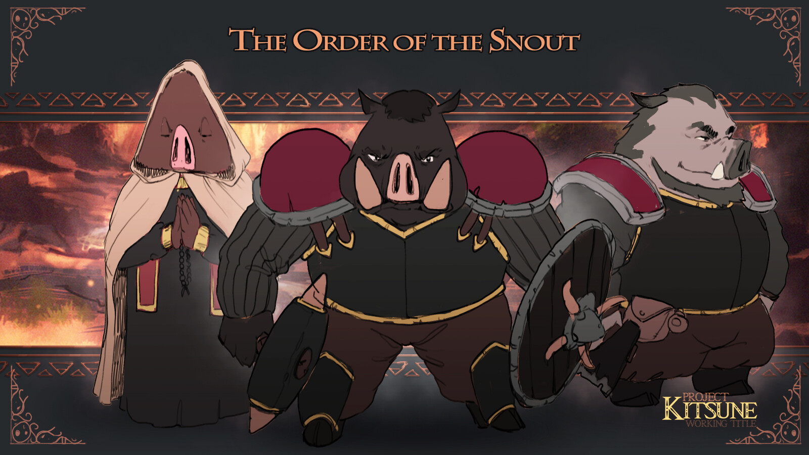 Concepts for 'The Order of the Snout', a group of religious fanatic boars.